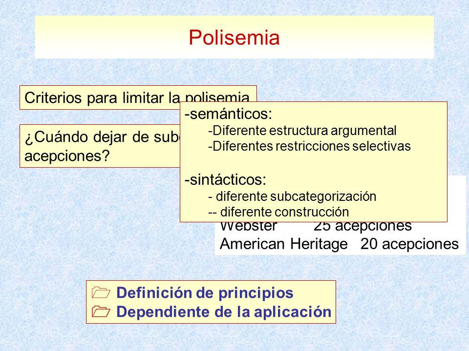 Polisemia Criterios para limitar la polisemia semánticos: sintácticos: