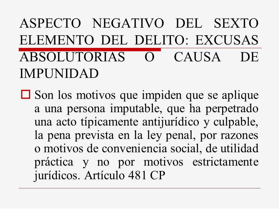 ASPECTO NEGATIVO DEL SEXTO ELEMENTO DEL DELITO: EXCUSAS ABSOLUTORIAS O CAUSA DE IMPUNIDAD