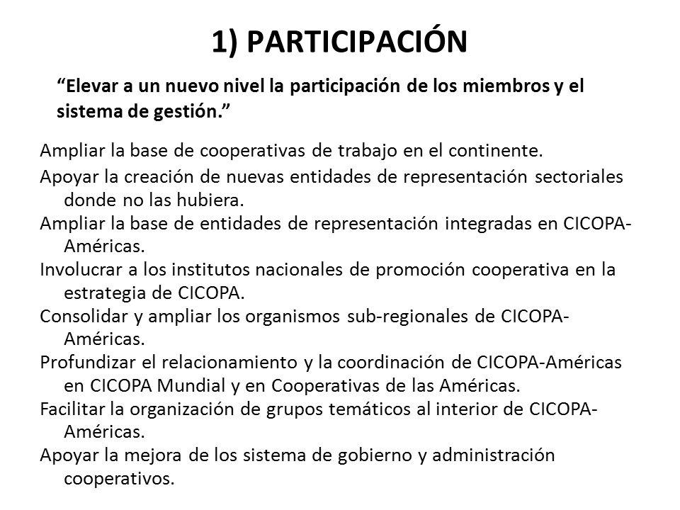 1) PARTICIPACIÓN Elevar a un nuevo nivel la participación de los miembros y el sistema de gestión.