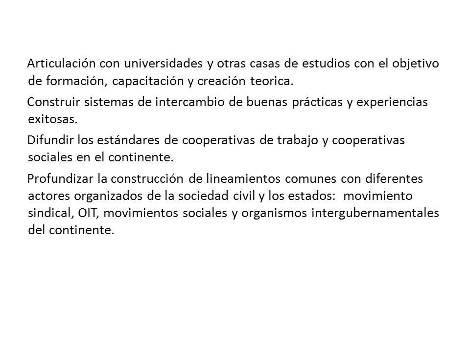 Articulación con universidades y otras casas de estudios con el objetivo de formación, capacitación y creación teorica.