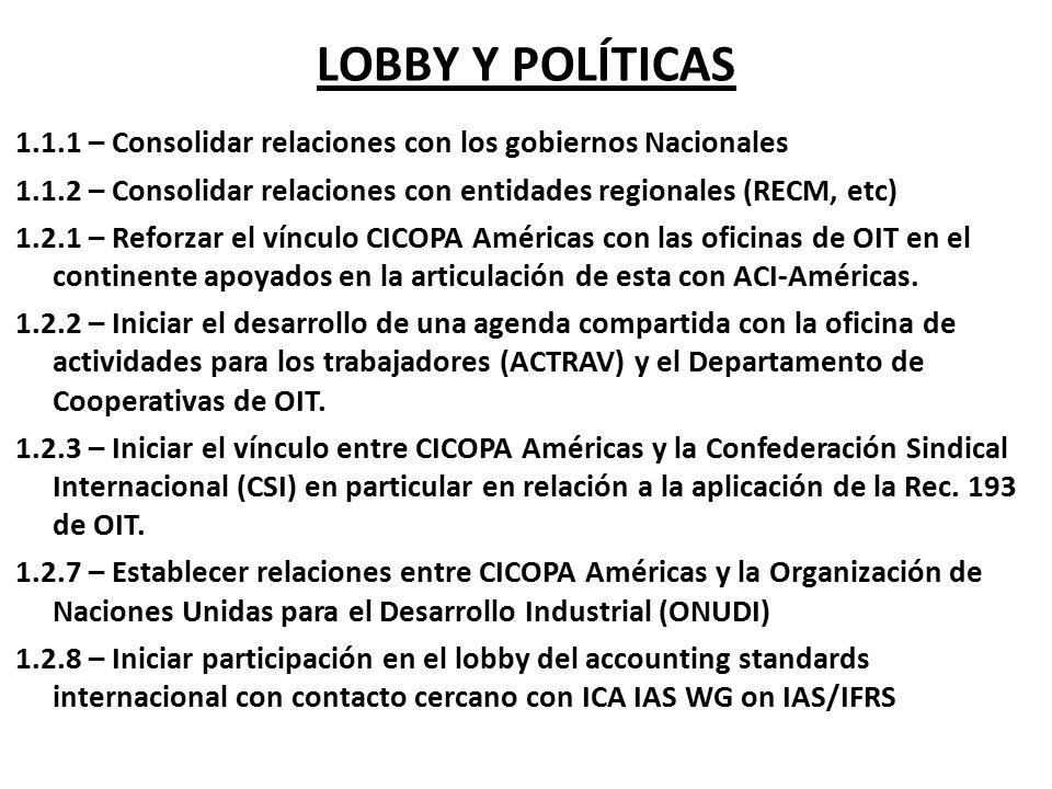 LOBBY Y POLÍTICAS 1.1.1 – Consolidar relaciones con los gobiernos Nacionales. 1.1.2 – Consolidar relaciones con entidades regionales (RECM, etc)