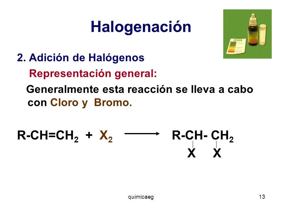 Halogenación R-CH=CH2 + X2 R-CH- CH2 X X 2. Adición de Halógenos