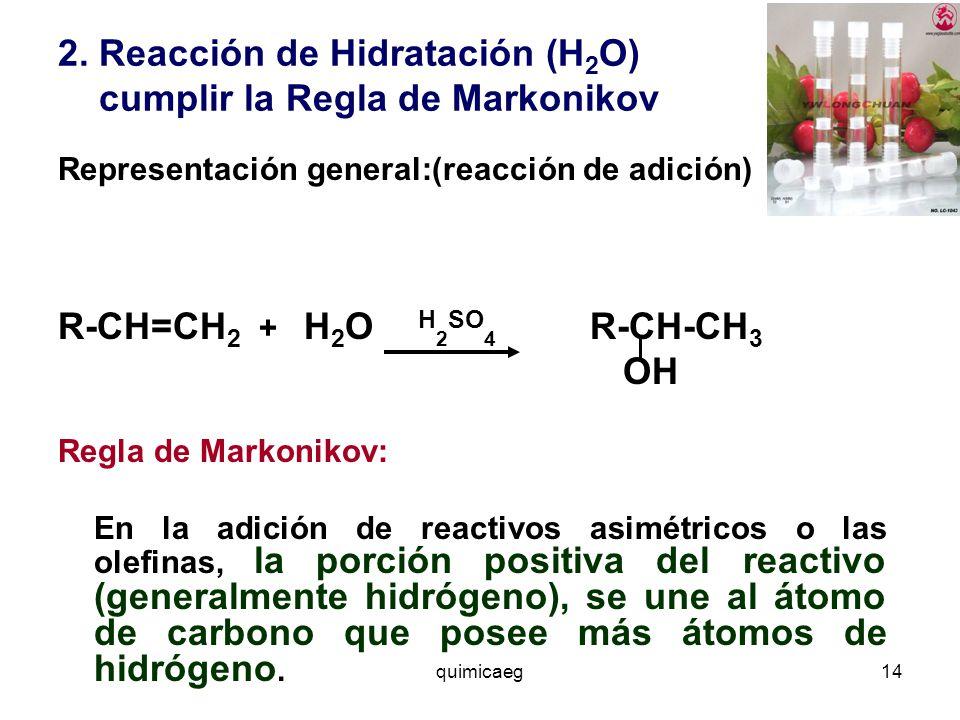 2. Reacción de Hidratación (H2O) cumplir la Regla de Markonikov