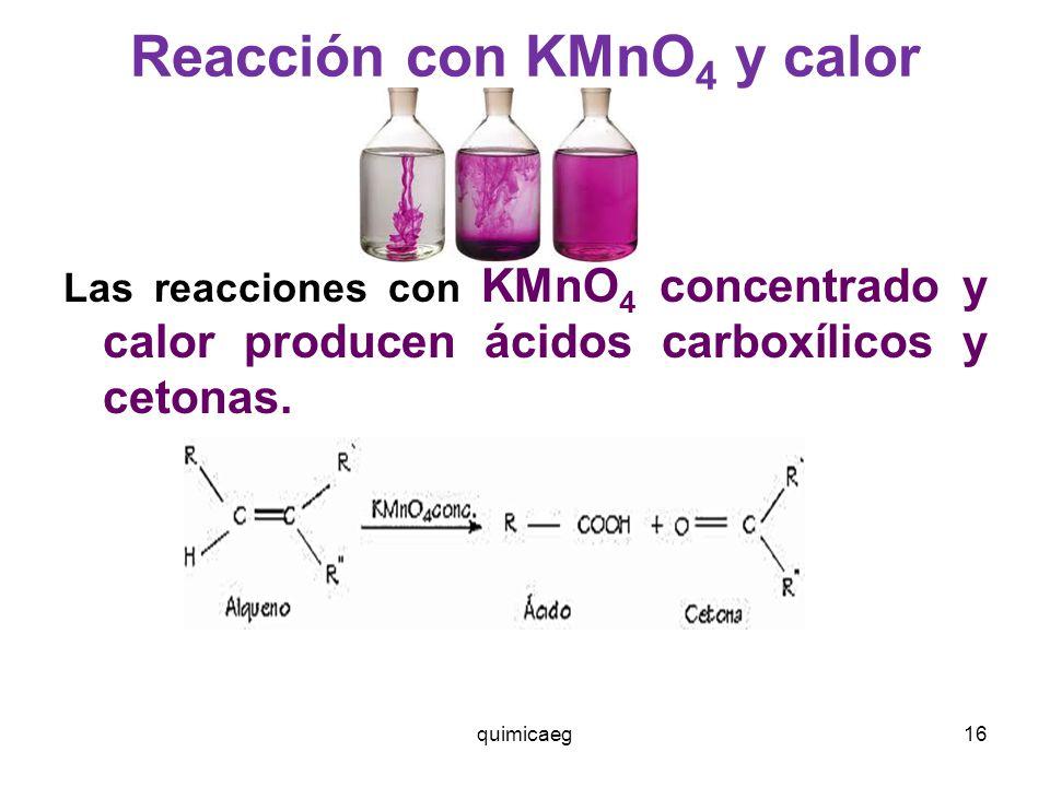 Reacción con KMnO4 y calor
