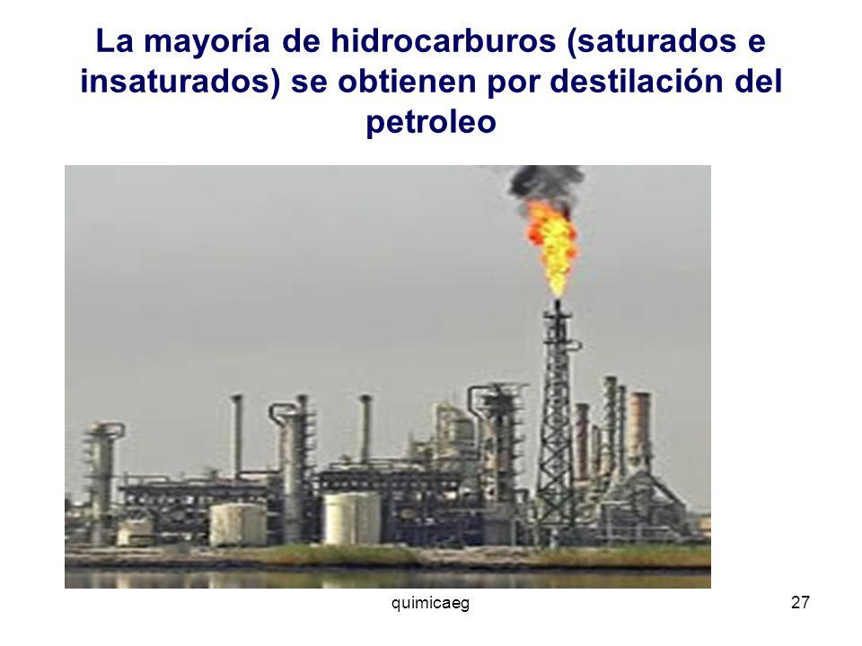 La mayoría de hidrocarburos (saturados e insaturados) se obtienen por destilación del petroleo