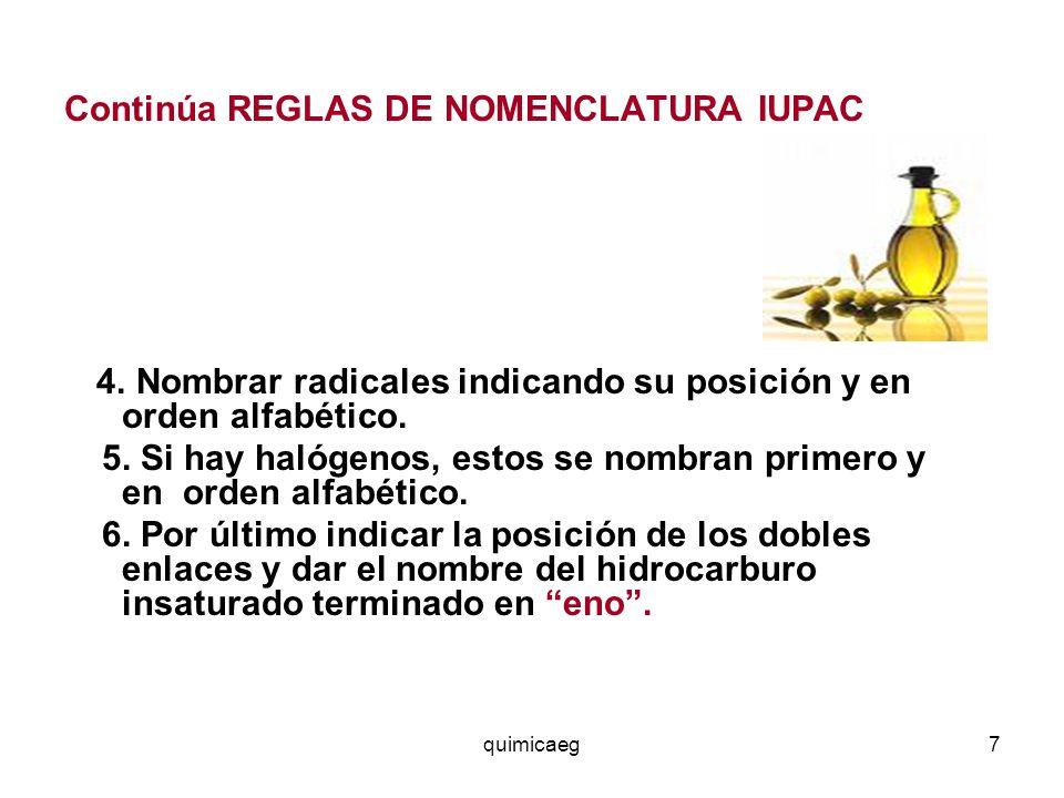 Continúa REGLAS DE NOMENCLATURA IUPAC