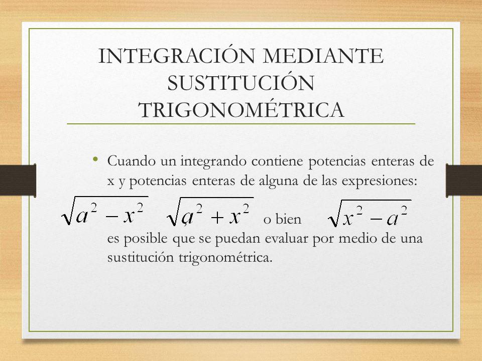 INTEGRACIÓN MEDIANTE SUSTITUCIÓN TRIGONOMÉTRICA