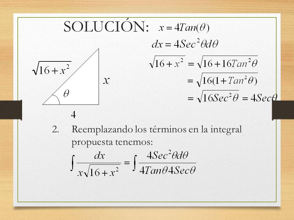 SOLUCIÓN: 2. Reemplazando los términos en la integral propuesta tenemos: