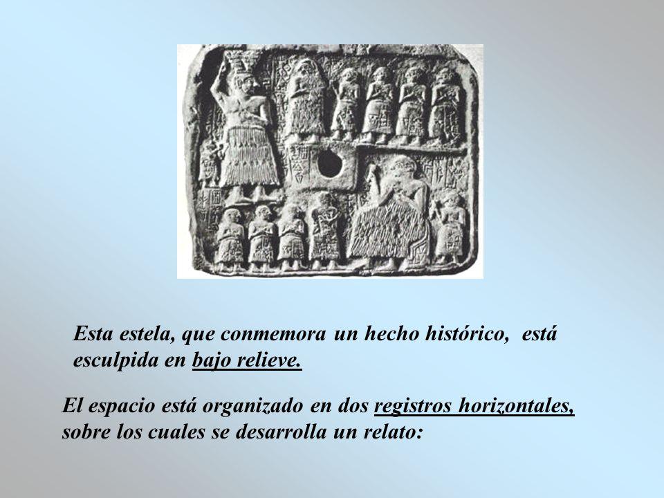 Esta estela, que conmemora un hecho histórico, está esculpida en bajo relieve.