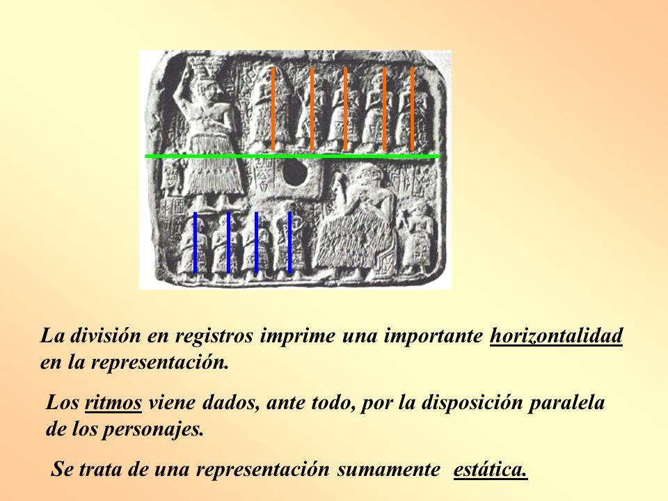 La división en registros imprime una importante horizontalidad en la representación.
