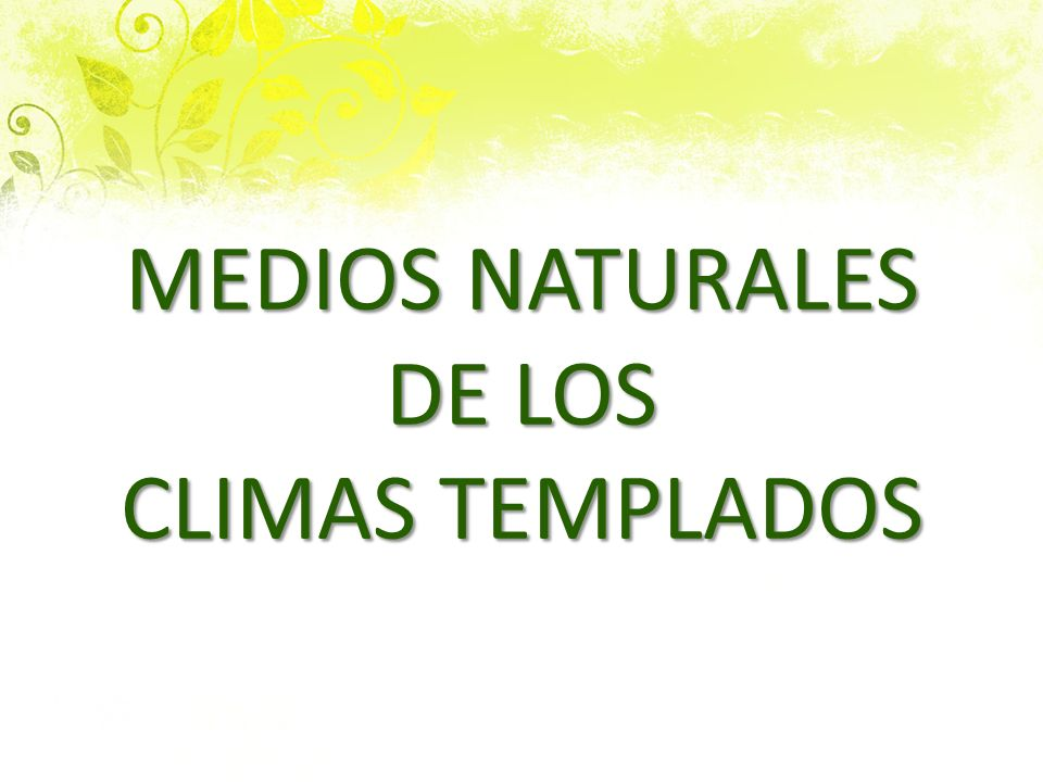 MEDIOS NATURALES DE LOS CLIMAS TEMPLADOS