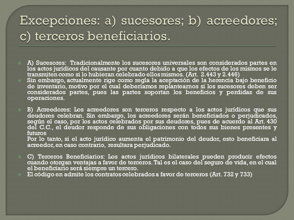 Excepciones: a) sucesores; b) acreedores; c) terceros beneficiarios.