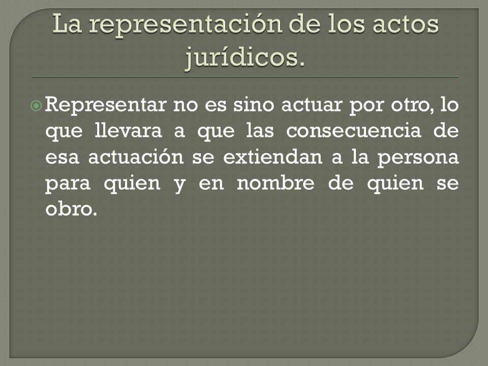 La representación de los actos jurídicos.