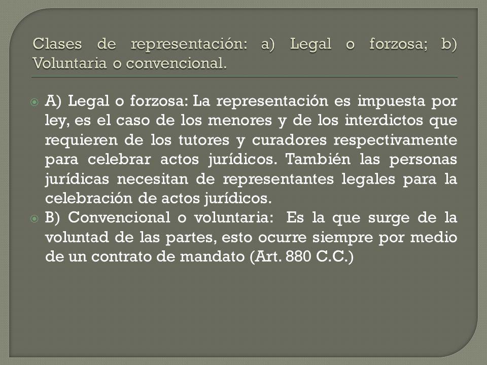 Clases de representación: a) Legal o forzosa; b) Voluntaria o convencional.