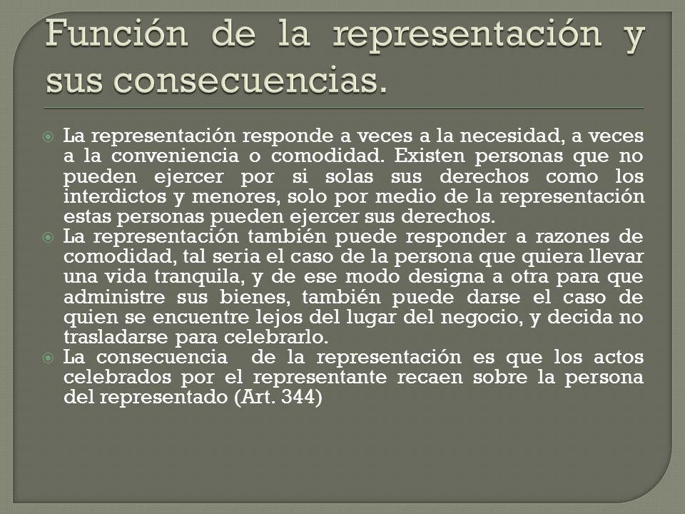 Función de la representación y sus consecuencias.