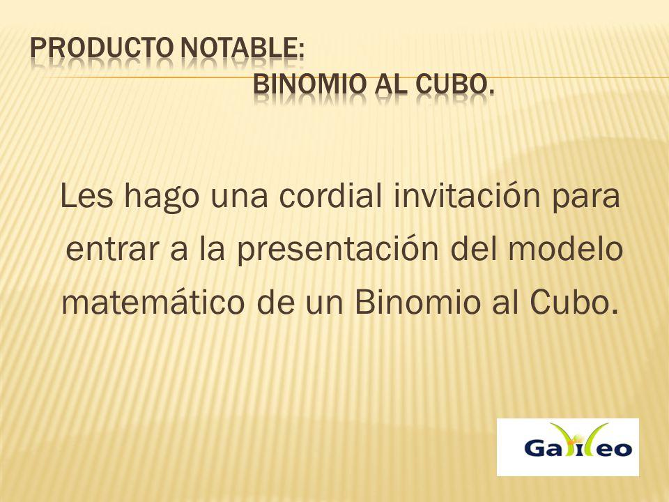 Producto notable: Binomio al cubo.