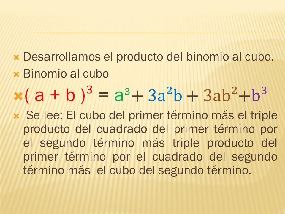 ( a + b )³ = a³+ 3a²b + 3ab²+b³