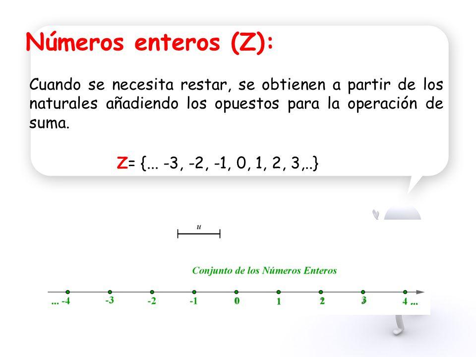 Números enteros (Z): Cuando se necesita restar, se obtienen a partir de los naturales añadiendo los opuestos para la operación de suma.