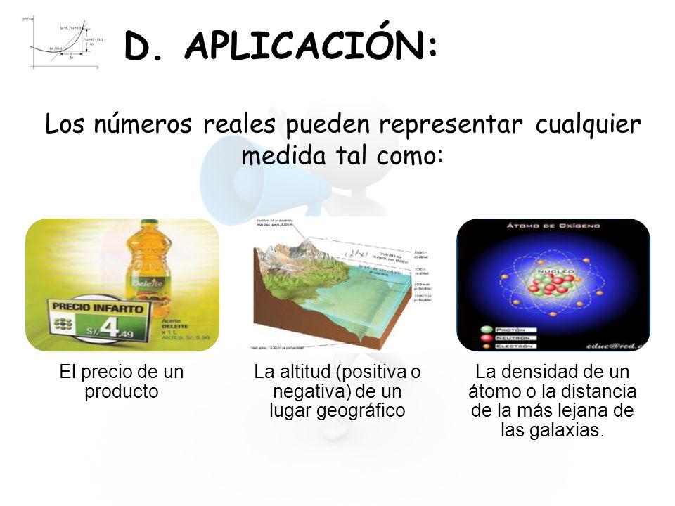 D. APLICACIÓN: Los números reales pueden representar cualquier medida tal como: El precio de un producto.