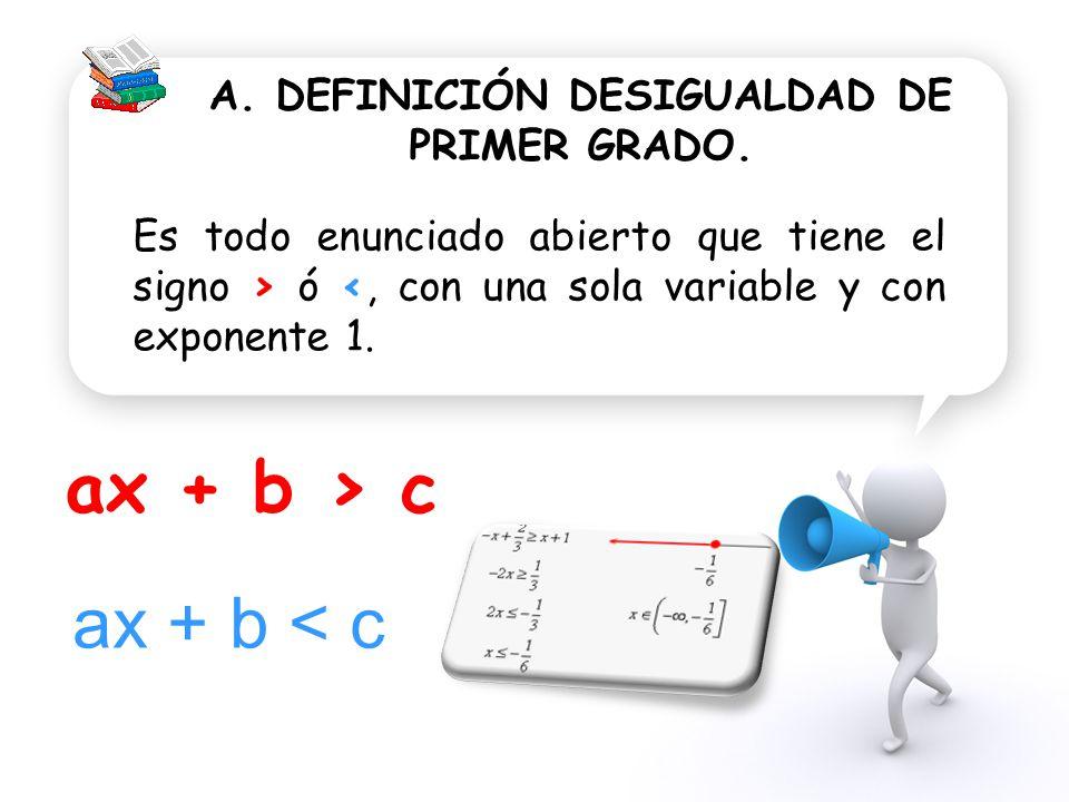 A. DEFINICIÓN DESIGUALDAD DE PRIMER GRADO.