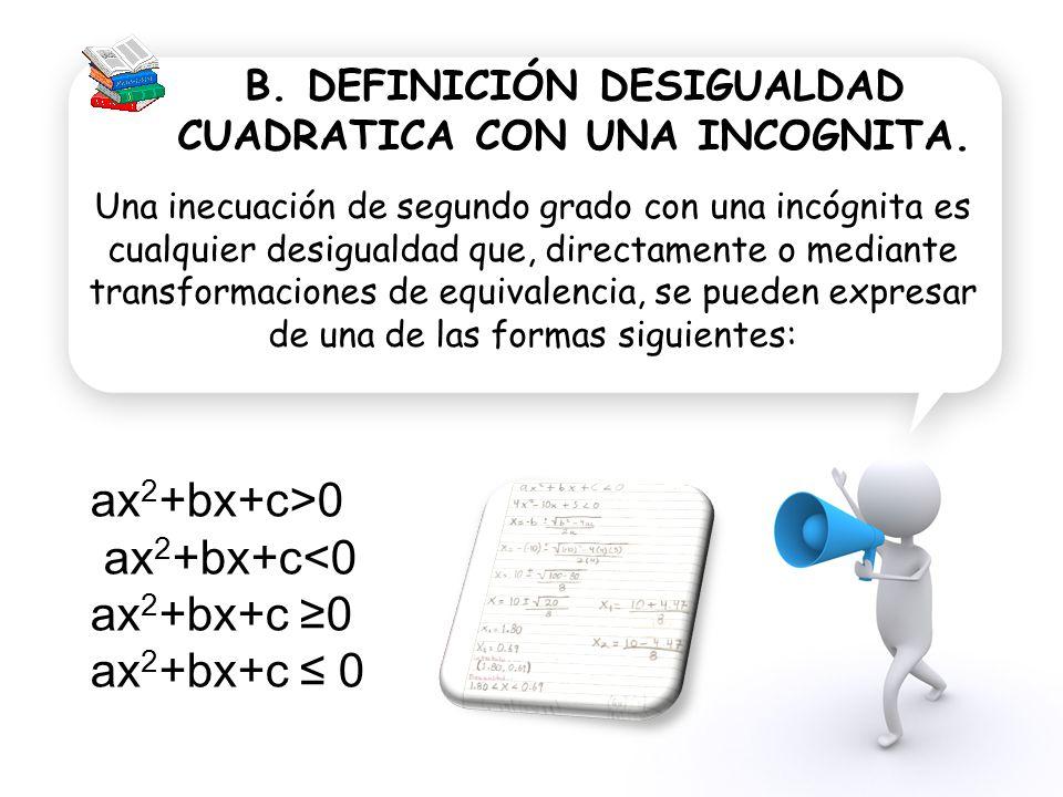 B. DEFINICIÓN DESIGUALDAD CUADRATICA CON UNA INCOGNITA.