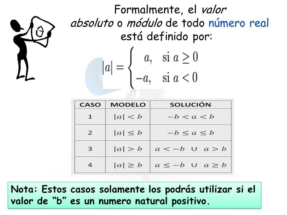 Formalmente, el valor absoluto o módulo de todo número real está definido por: