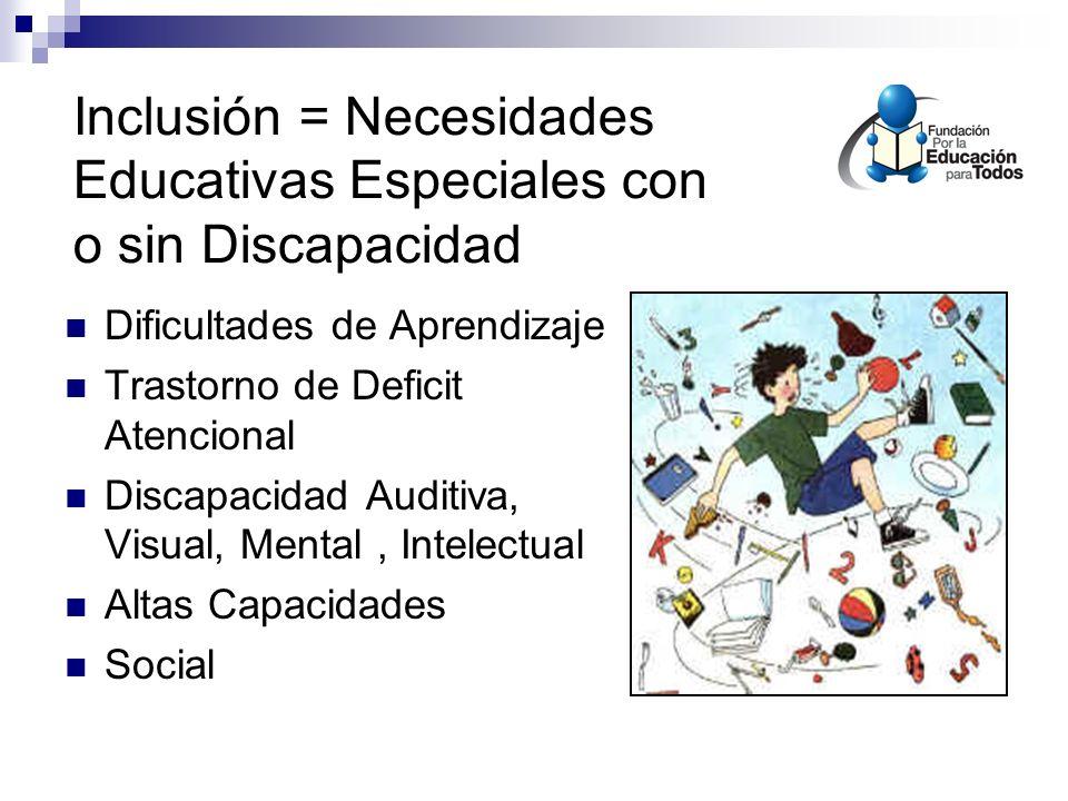 Inclusión = Necesidades Educativas Especiales con o sin Discapacidad