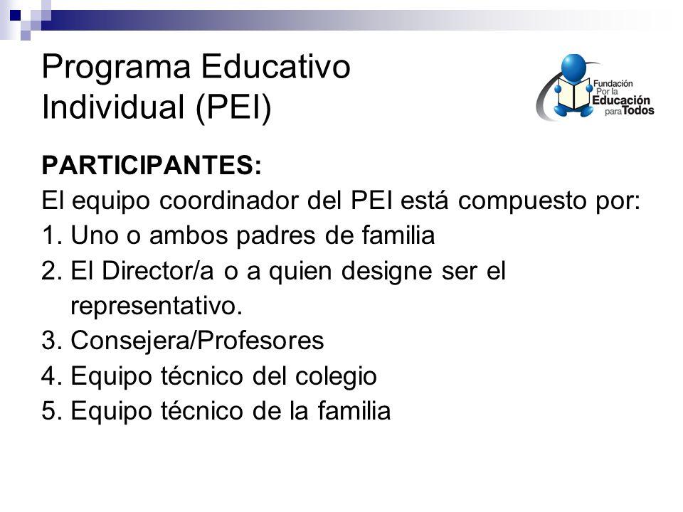 Programa Educativo Individual (PEI)