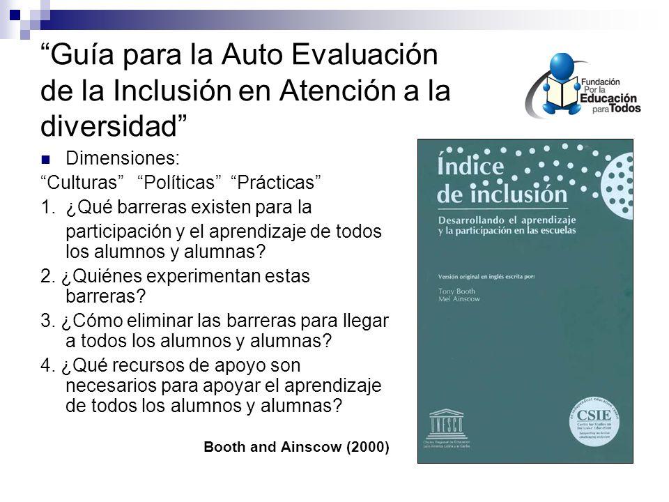 Guía para la Auto Evaluación de la Inclusión en Atención a la diversidad