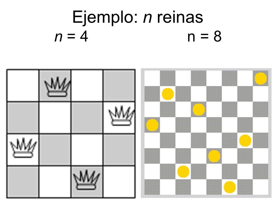 Ejemplo: n reinas n = 4 n = 8