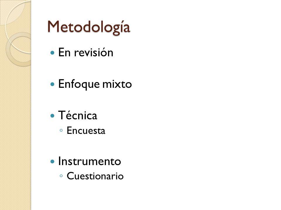 Metodología En revisión Enfoque mixto Técnica Instrumento Encuesta