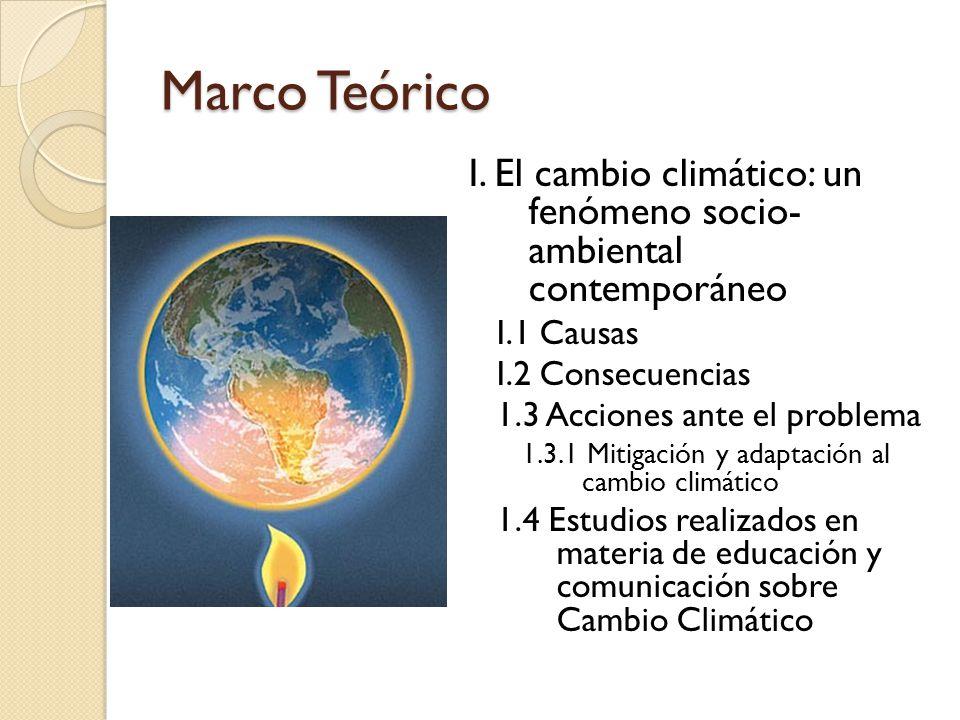 Marco Teórico I. El cambio climático: un fenómeno socio- ambiental contemporáneo. I.1 Causas. I.2 Consecuencias.