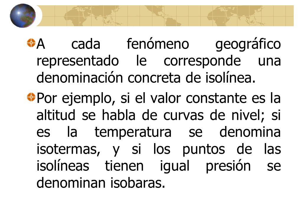 A cada fenómeno geográfico representado le corresponde una denominación concreta de isolínea.