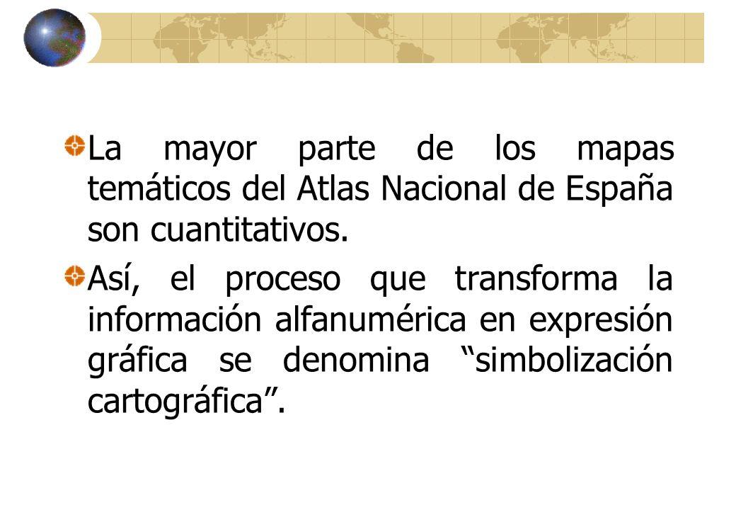 La mayor parte de los mapas temáticos del Atlas Nacional de España son cuantitativos.