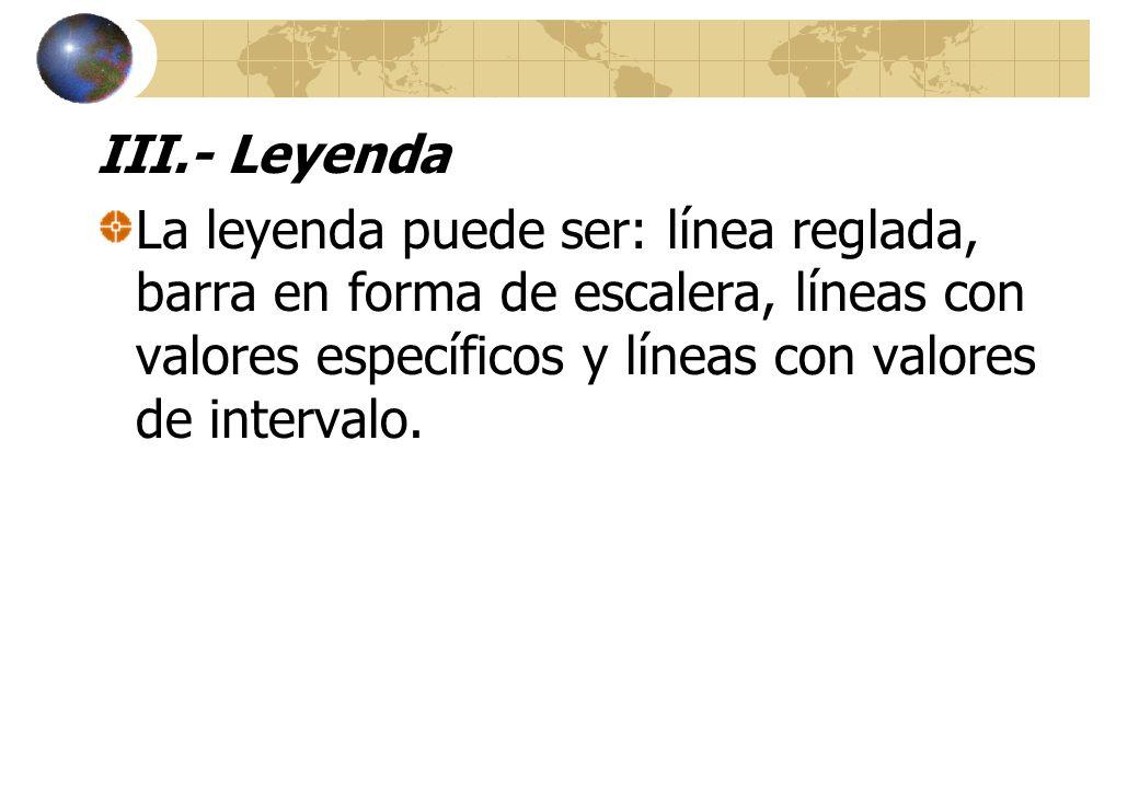 III.- Leyenda La leyenda puede ser: línea reglada, barra en forma de escalera, líneas con valores específicos y líneas con valores de intervalo.