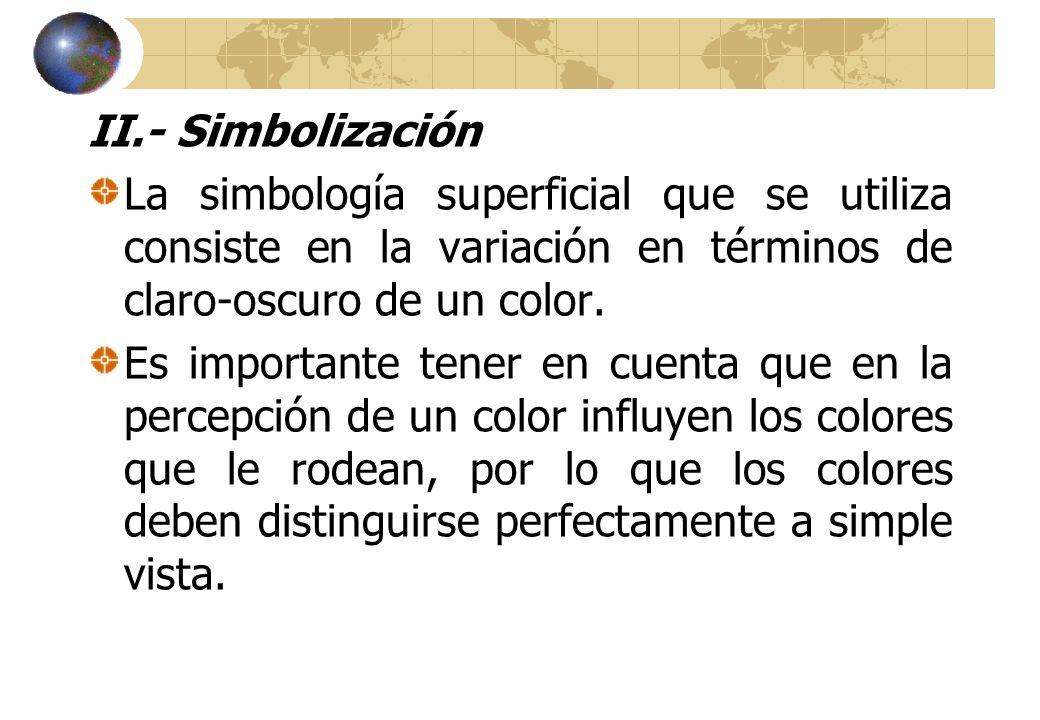 II.- Simbolización La simbología superficial que se utiliza consiste en la variación en términos de claro-oscuro de un color.