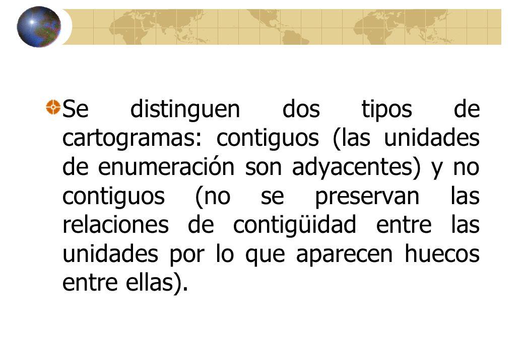 Se distinguen dos tipos de cartogramas: contiguos (las unidades de enumeración son adyacentes) y no contiguos (no se preservan las relaciones de contigüidad entre las unidades por lo que aparecen huecos entre ellas).