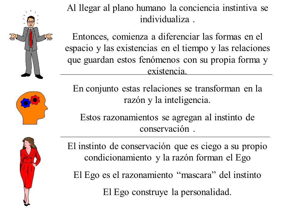 Al llegar al plano humano la conciencia instintiva se individualiza .