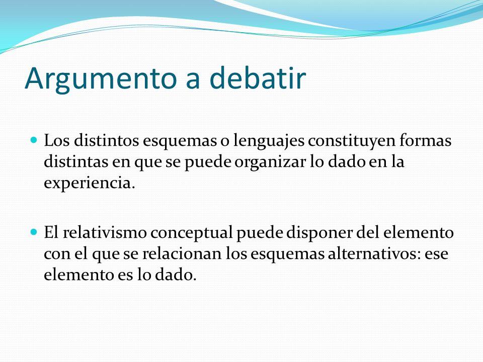 Argumento a debatir Los distintos esquemas o lenguajes constituyen formas distintas en que se puede organizar lo dado en la experiencia.