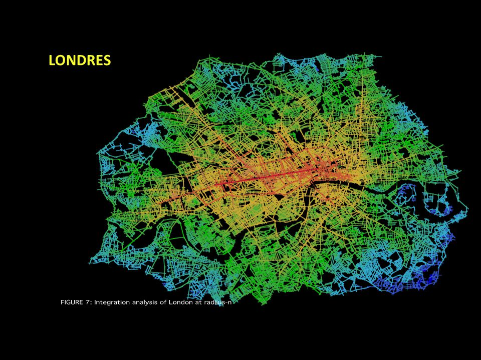 El patrón de la rueda deformada también surge en la escala urbana mayor.