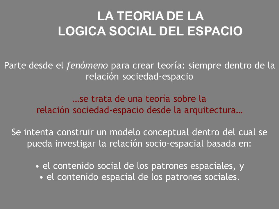 LOGICA SOCIAL DEL ESPACIO