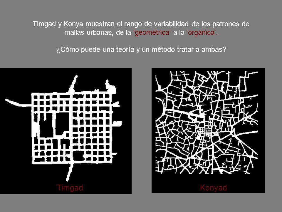 Timgad y Konya muestran el rango de variabilidad de los patrones de mallas urbanas, de la 'geométrica' a la 'orgánica'. ¿Cómo puede una teoría y un método tratar a ambas