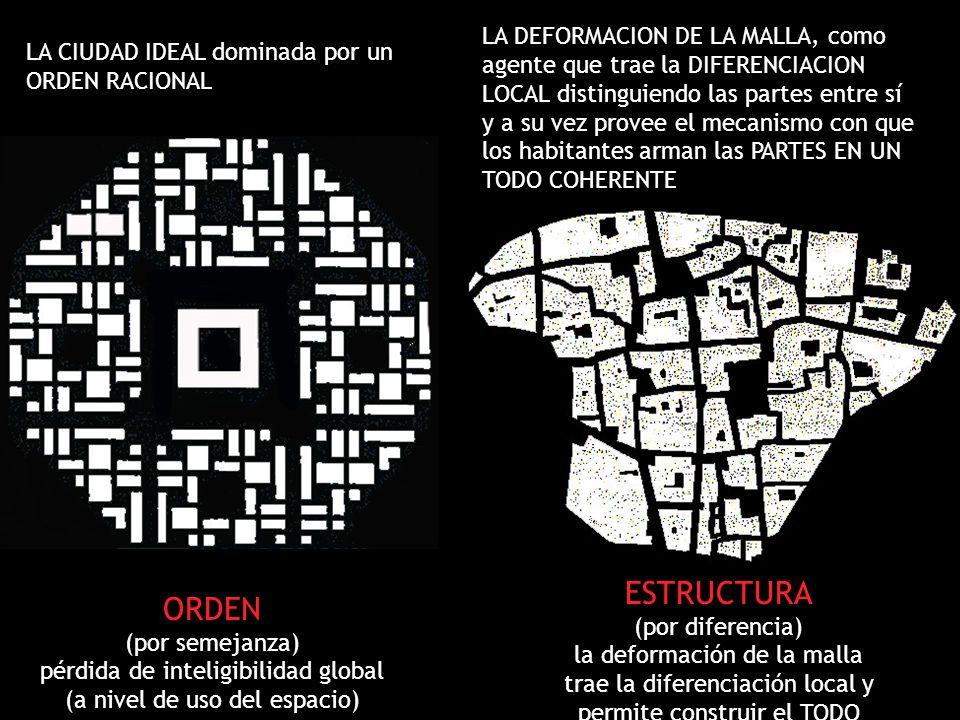 LA DEFORMACION DE LA MALLA, como agente que trae la DIFERENCIACION LOCAL distinguiendo las partes entre sí y a su vez provee el mecanismo con que los habitantes arman las PARTES EN UN TODO COHERENTE