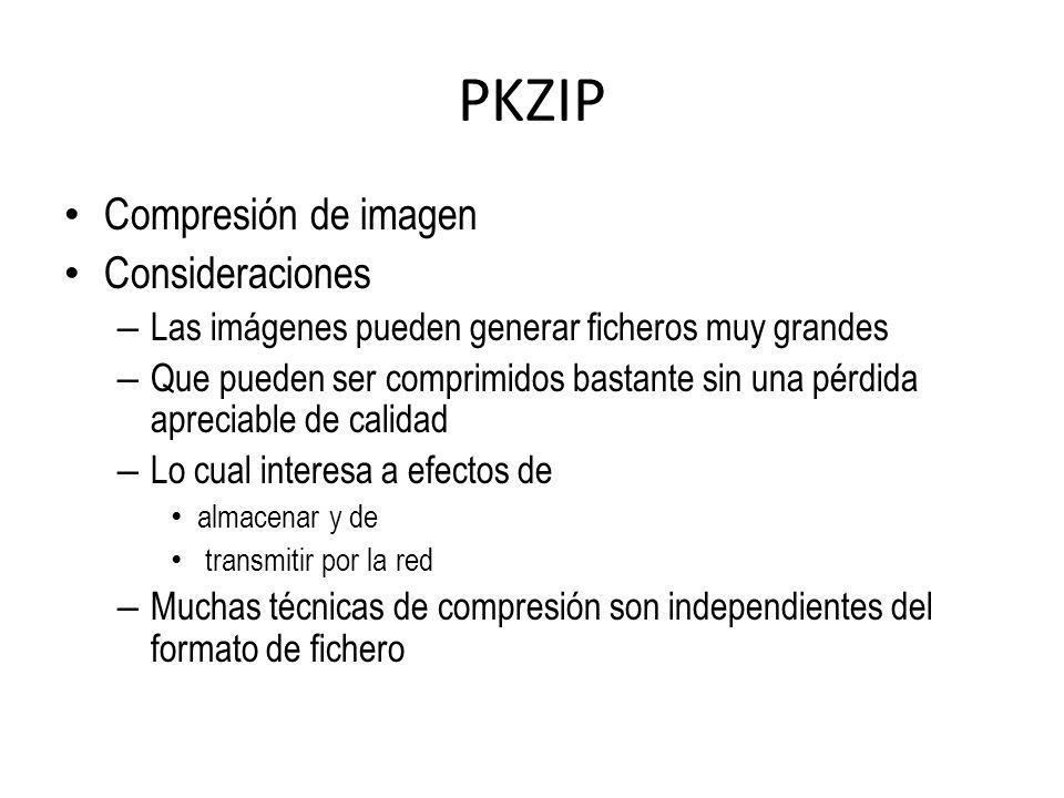 PKZIP Compresión de imagen Consideraciones