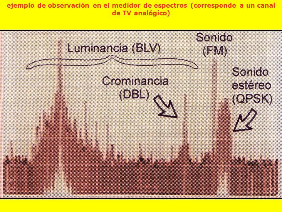 ejemplo de observación en el medidor de espectros (corresponde a un canal de TV analógico)