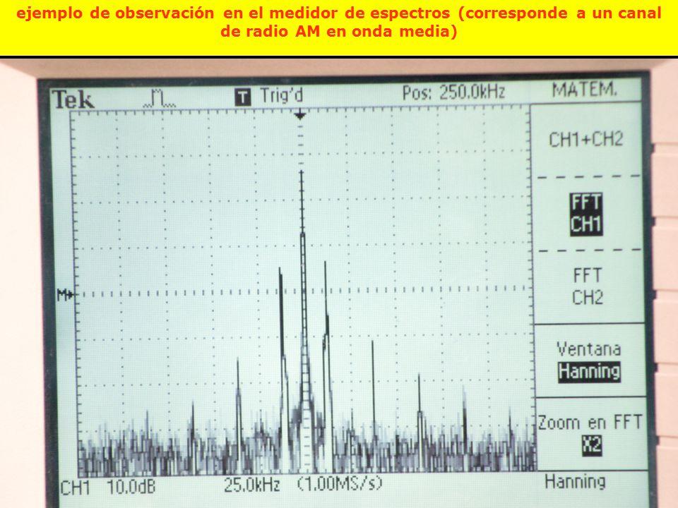 ejemplo de observación en el medidor de espectros (corresponde a un canal de radio AM en onda media)