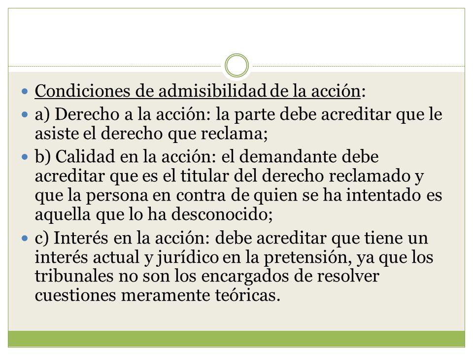 Condiciones de admisibilidad de la acción: