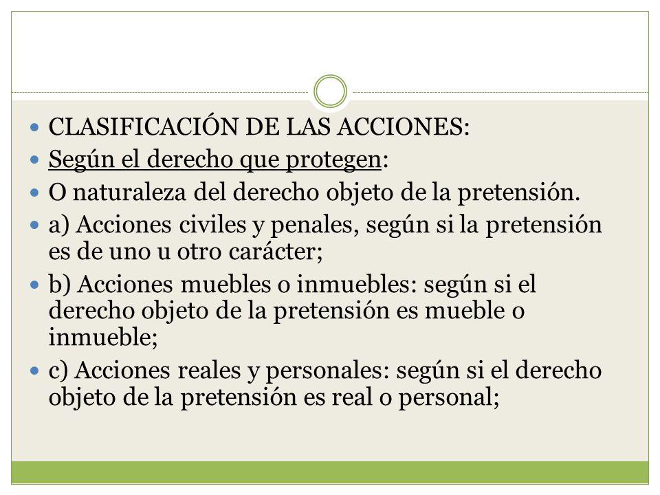 CLASIFICACIÓN DE LAS ACCIONES: