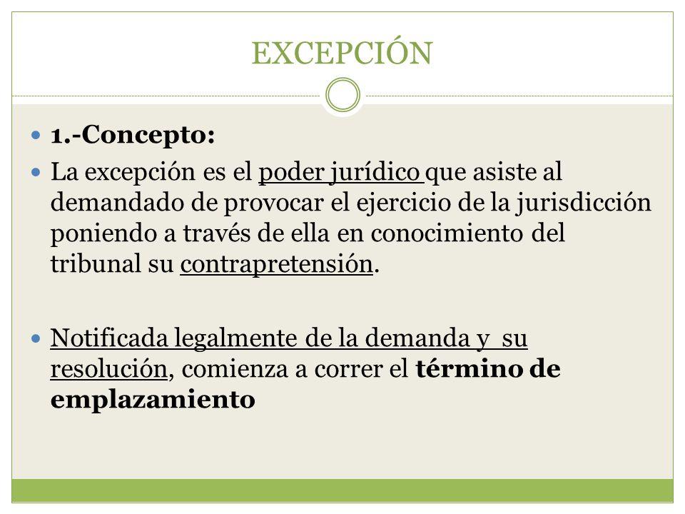 EXCEPCIÓN 1.-Concepto: