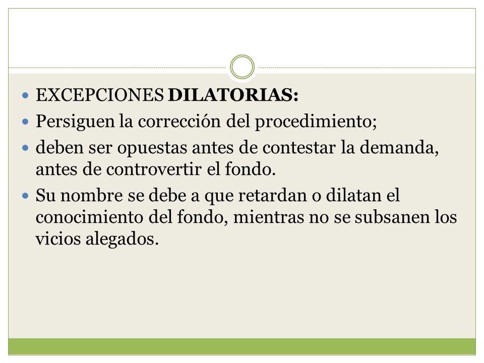 EXCEPCIONES DILATORIAS: